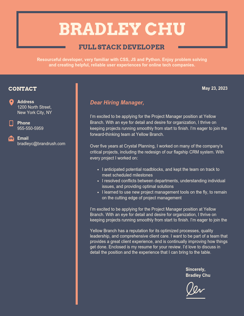 Dark College Student Cover Letter Template
