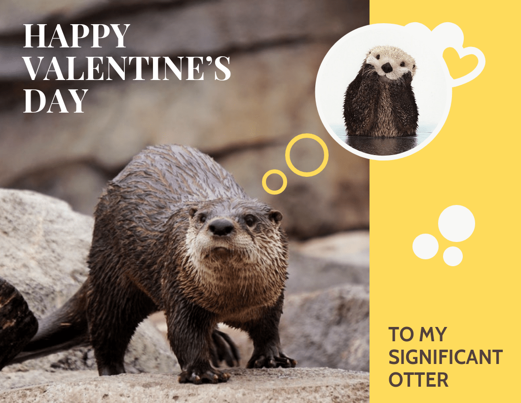 Cute Otter Valentine's Day Card Template