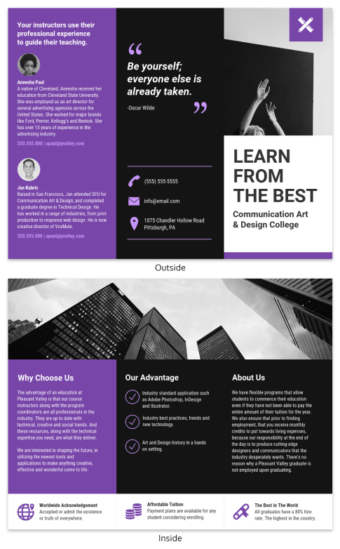 simple college tri fold brochure infographic template - Marketing Brochure Template