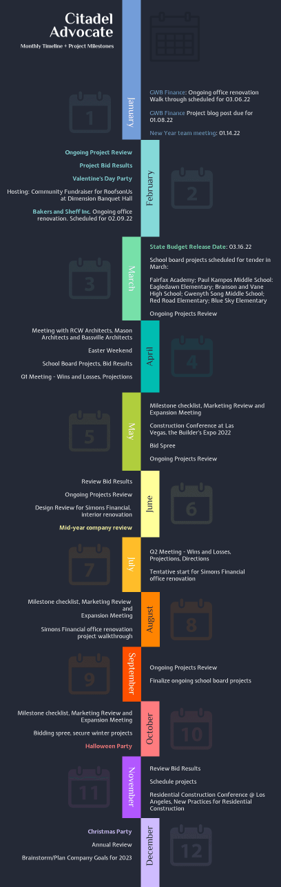 dark monthly timeline infographic template
