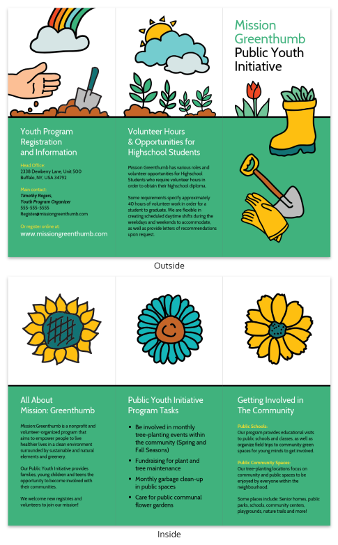 nonprofit tree planting trifold brochure infographic template