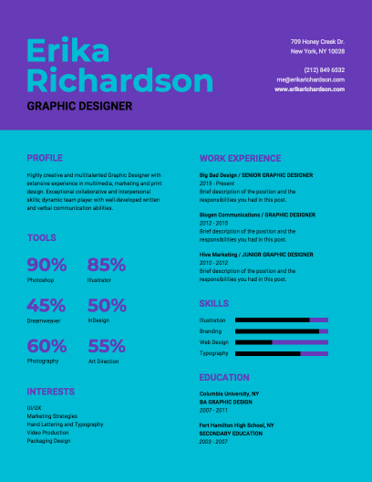 Modern Graphic Designer Resume Template - Venngage