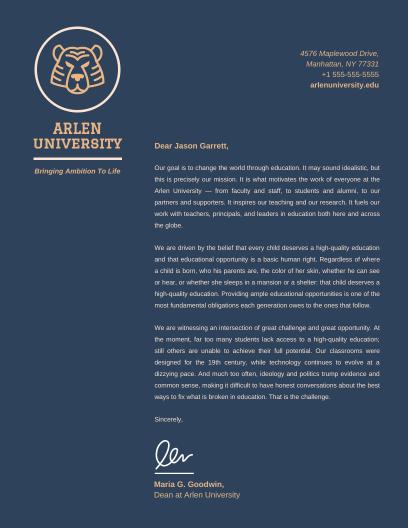 Business letterhead templates venngage dark university letterhead infographic template spiritdancerdesigns Images