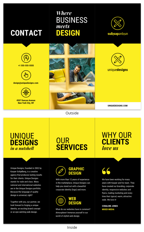 creative agency trifold brochure infographic template