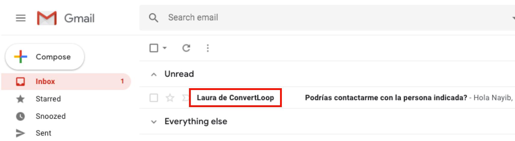 convertloop email productivity sales automation personalizar nombre de remitente del email