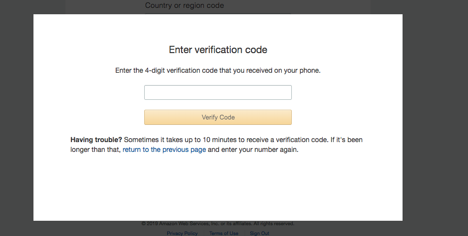 email marketing verification code aws via sms