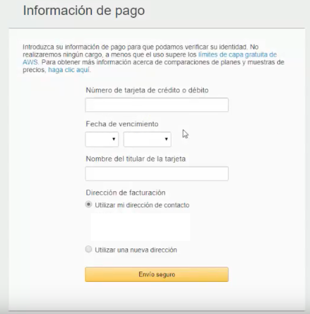 email marketing informacion de pago aws