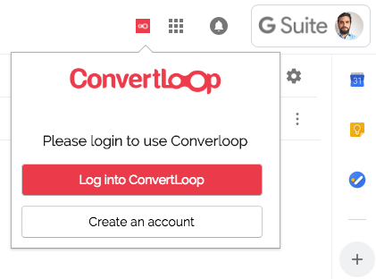 Convertloop chrome extension for gmail log in
