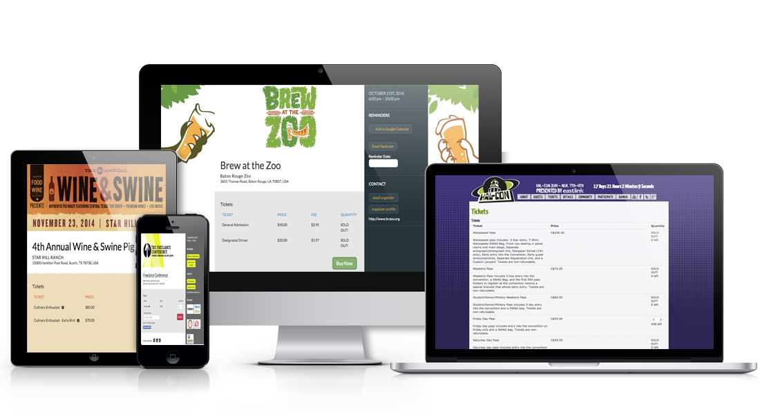 Example of Ticketbud's free online event registration software on desktop, tablet, and smartphone.