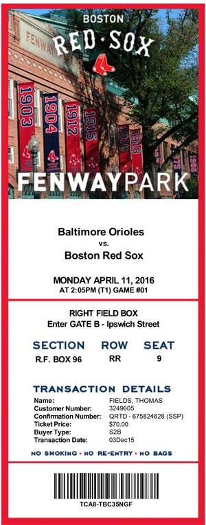 Fenway Park Tickets