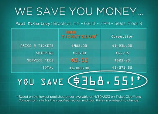 Ticket Club™ Saves You Money!