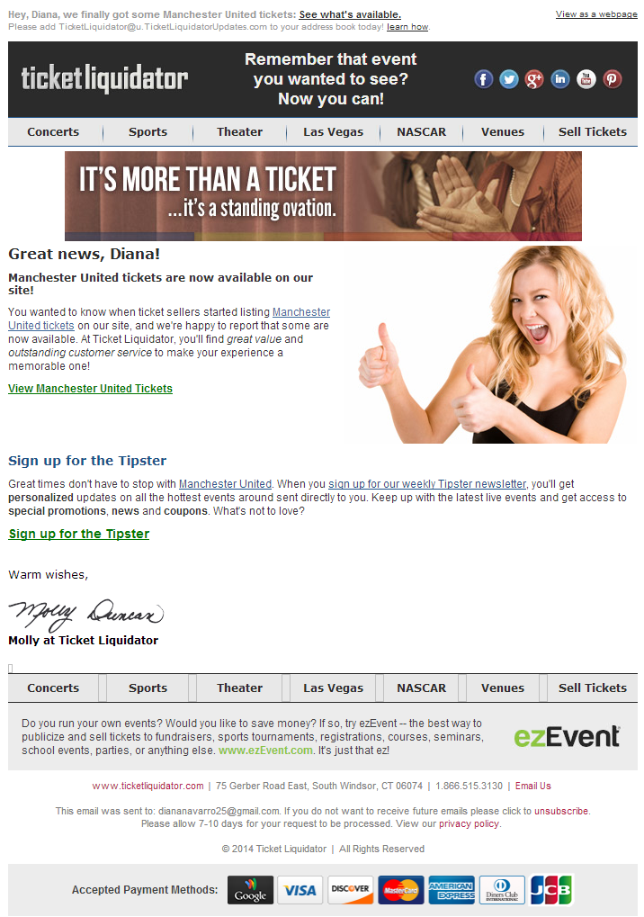 Sample Event Alert Email