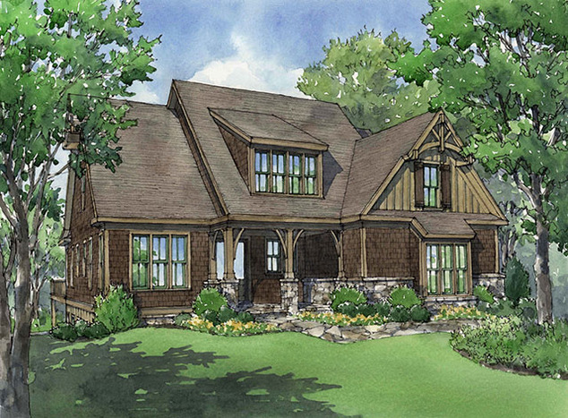 lakefront cottage plans with green grass   Braemer Lake - - Print   Southern Living House Plans