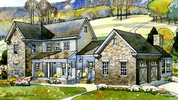 Modern farmhouse designs house plans southern living for Two story farmhouse oak park