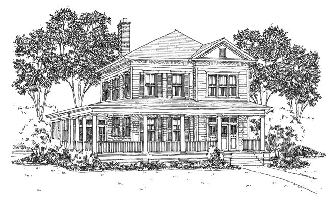 Exterior Front - Black and White Rendering