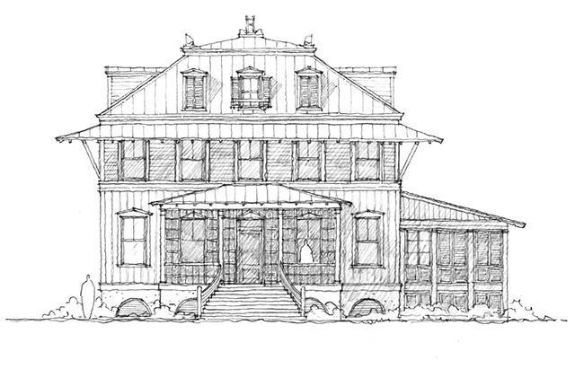Front Elevation Rendering B/W