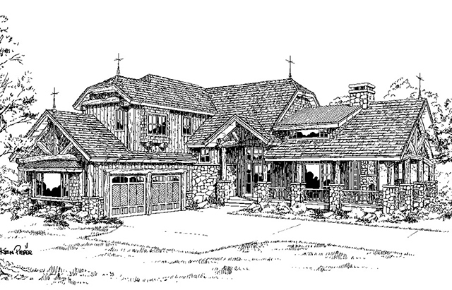 front Elevation 3-quarter view BW Rendering