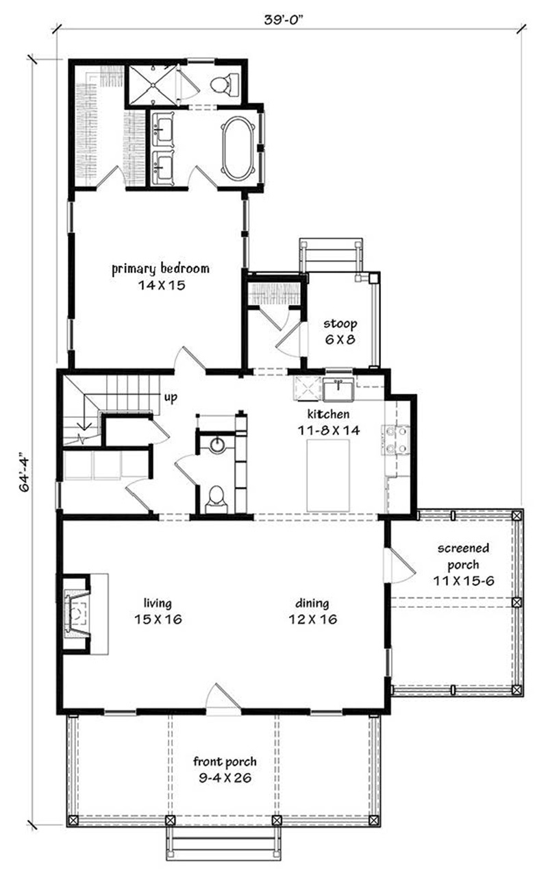 Bay Breeze -   Southern Living House Plans on 20x40 one-bedroom floor plans, dueplex floor plans, duplex home floor plans,