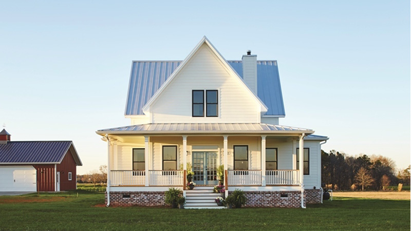 Modern farmhouse designs house plans southern living for Four gables house plan