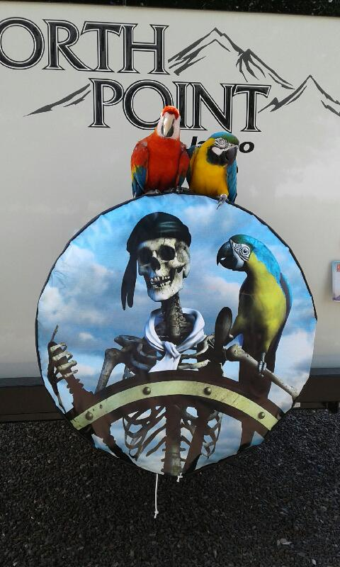 Pirate & Parrot spare tire cover includes customers 2 parrots perched on top