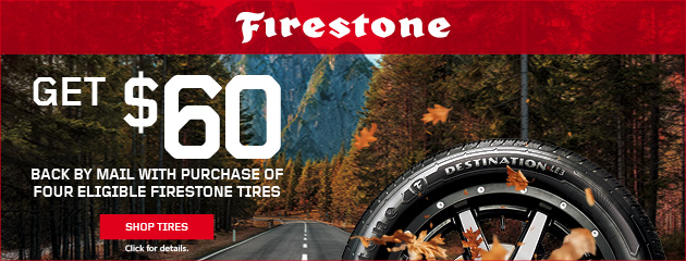 Get $60 back by mail with purchase of four eligible Firestone tires