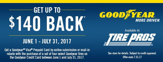 Goodyear Rebate : Up to $140 mail in Rebate