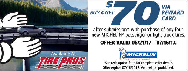 Michelin Tire Pros 2017 Summer Rebate