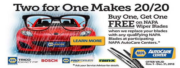 NAPA Buy One, Get One FREE on  NAPA Wiper Blades!
