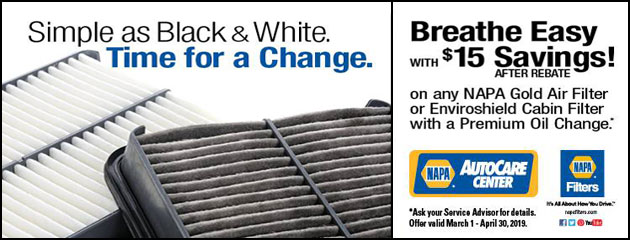 Breathe Easy with $15 Savings on any NAPA Gold Air Filter or Enviroshield Cabin Filter w/Premium Oil Change
