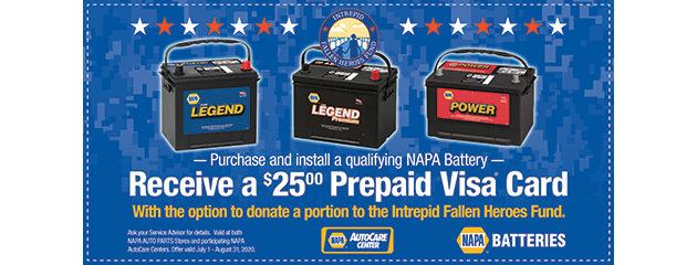 Receive a $25 Prepaid Visa Gift Card on Qualifying NAPA Batteries