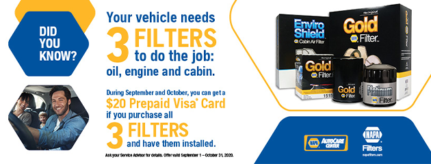 Receive a $20 Prepaid Visa Card if you purchase all 3 filters
