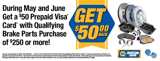 Get a $50 Prepaid Visa Card with Qualifying Brake Parts Purchase of $250 or more!