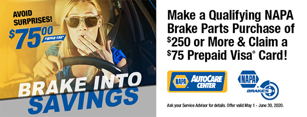 Make a Qualifying NAPA Brake Parts Purchase of $250 or More & Claim a $75 Prepaid Visa Card