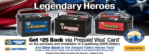Get $25 Back via Prepaid Visa Card on the purchase and installation of a qualifying NAPA Battery