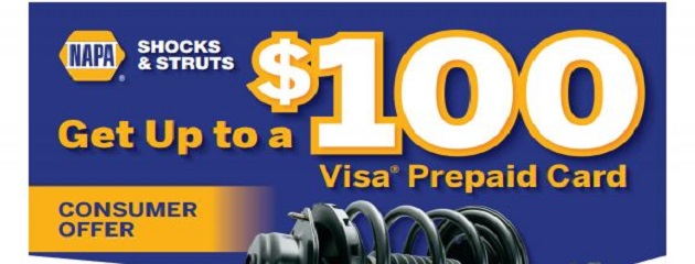 Receive up to a $100 Prepaid Visa Card on Qualifying NAPA Shocks & Struts