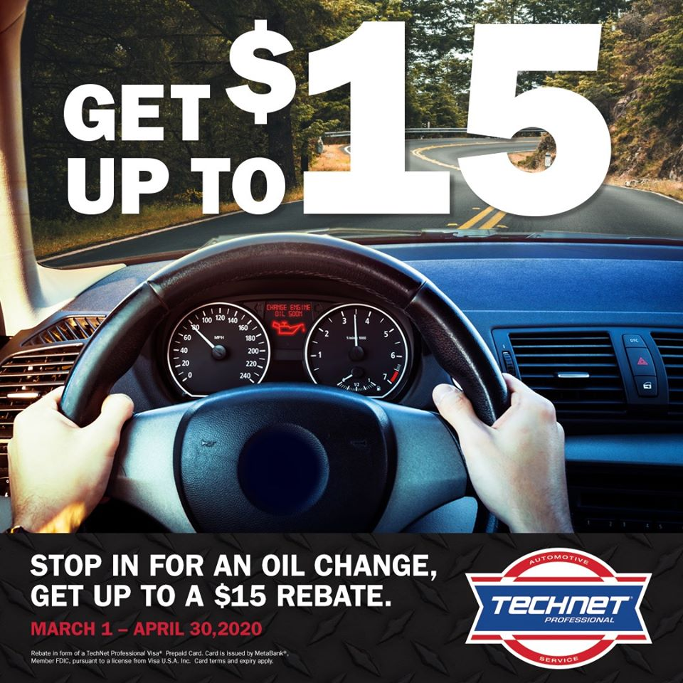 Get up to $15 OFF with purchase and installation of Qualifying Filters with Oil Change Service