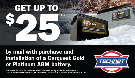 Save up to $25 on Carquest Batteries from Nov. 1, 2019 to Jan. 31 2020!