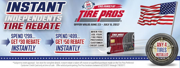 Tire Pros Instant Independents Tire Rebate