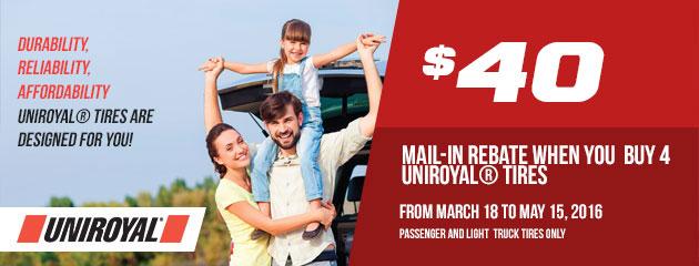 Uniroyal $40 Rebate
