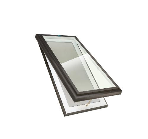 2 ft x 4 ft Columbia Skylights Manual Venting Curb Mount Double Glazed LoE Clear Glass Skylight / Brown Frame
