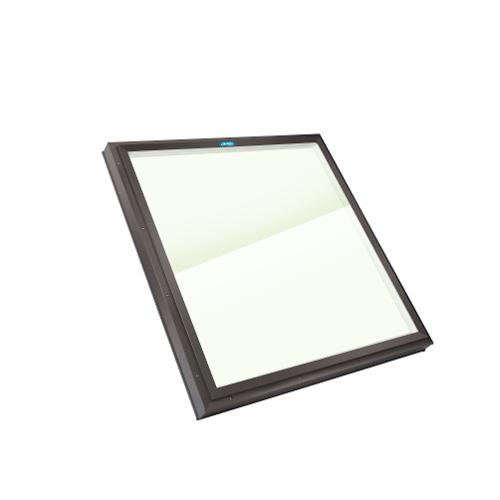 2 ft x 2 ft Columbia Skylights Fixed Curved Mount Double Glazed LoE Clear Glass Skylight / Inside Fastening Brown Frame