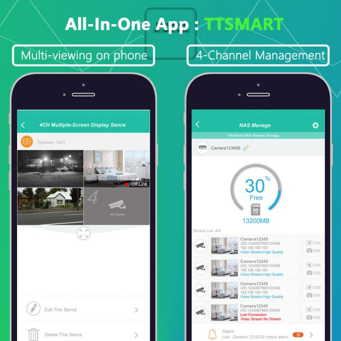 titathink 4 camera feeds app