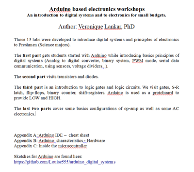 Arduino based electronics workshops (labs)   An introduction to digital systems for small budgets.