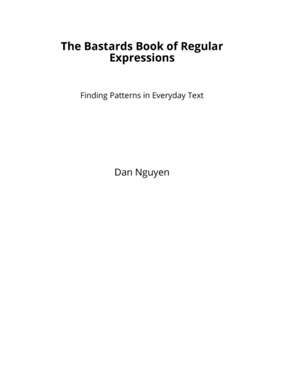 The Bastards Book of Regular Expressions cover page