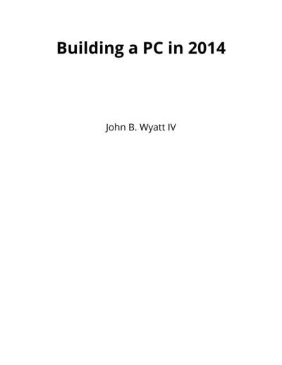 Building a PC in 2014