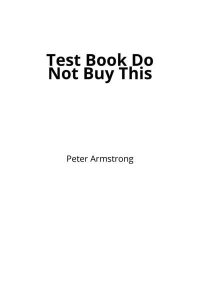 Test Book Do Not Buy This