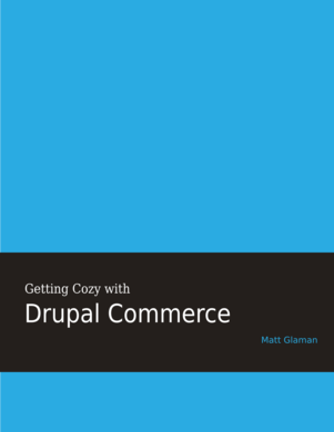 Getting Cozy with Drupal Commerce cover art.