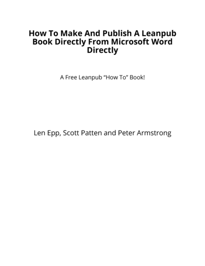 How To Make And Publish A Leanpub Book Directly From Microsoft Word Directly