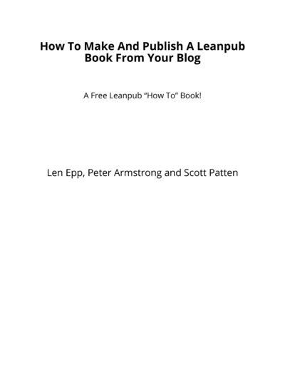 How To Make And Publish A Leanpub Book From Your Blog