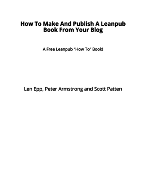 How To Make And Publish A Leanpub Book From Your Blog cover page